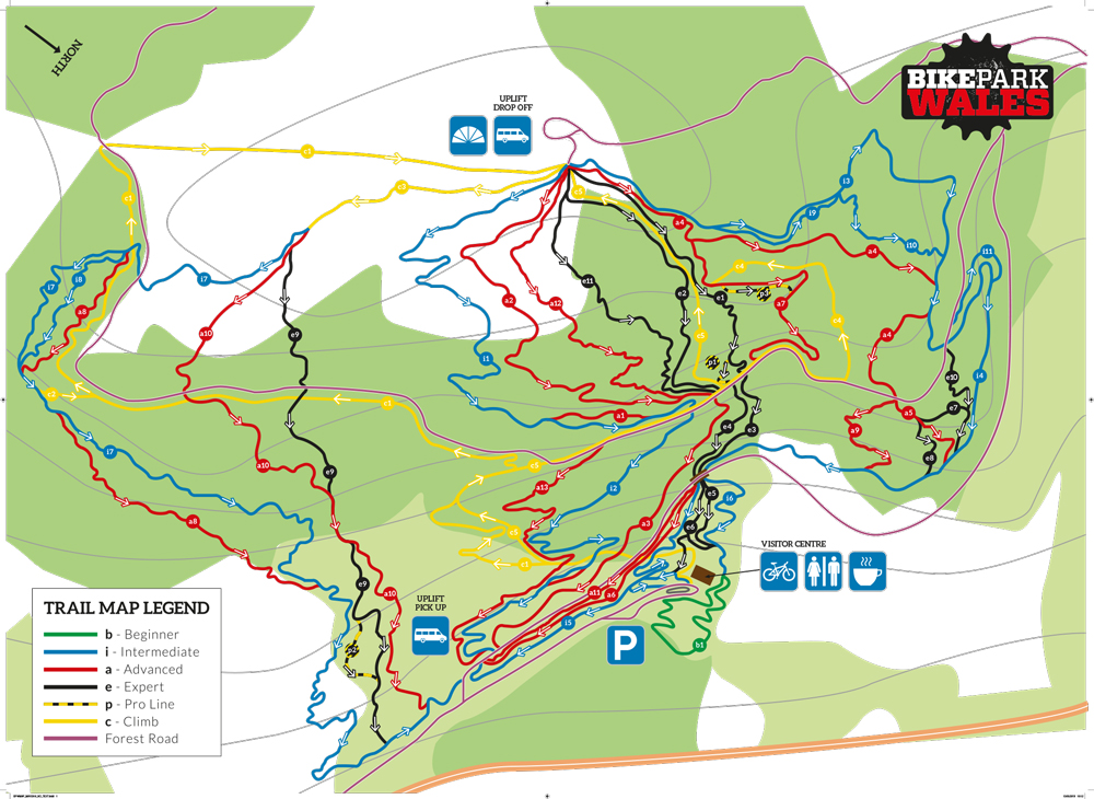 Bike Park Wales Map Trails at BikePark Wales